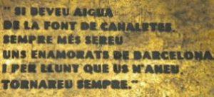 Scritta fontana Canaletes