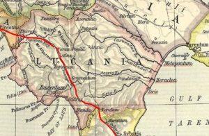 Cartina dell'antica Lucania in epoca romana