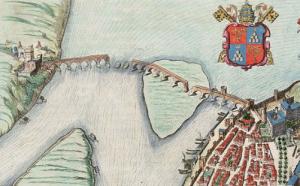 Mappa del 1649 in cui viene riprodotto il ponte di Avignone crollato in alcuni punti.