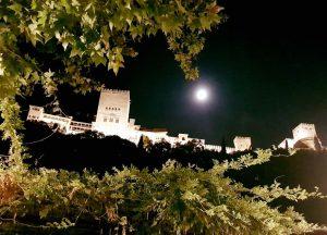 Vista notturna dell'Alhambra